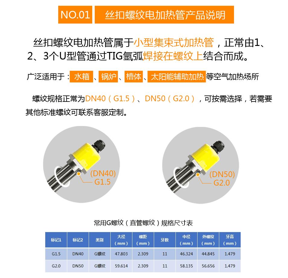 封闭式油槽丝扣电加热管产品说明