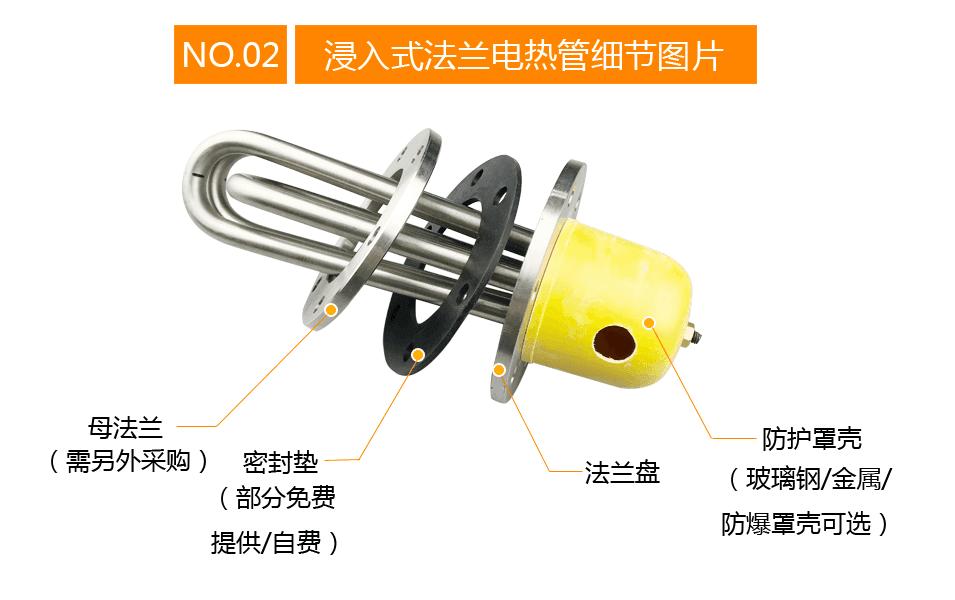 封闭式油槽加热法兰電加熱管细节图片