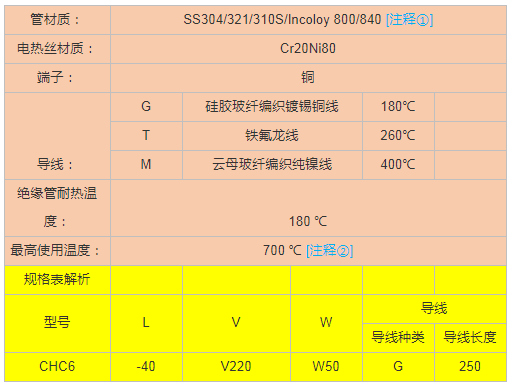 單頭電加熱管技术参数指导